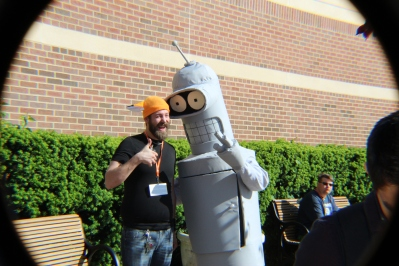 Bender and attendee